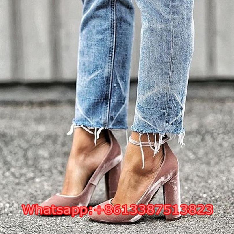 Sapato Feminino 2017 Fashion Pink Velvet Leather Ankle Strap Women Pumps Block High Heels Shallow Dress Party Women Shoes Woman sapato