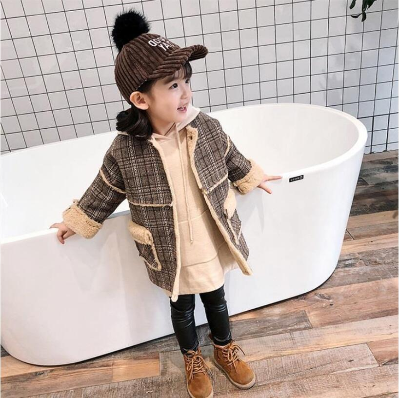 2018 New Winter Child Ladies Lengthy Coat, Youngsters Ladies Vogue Polar Fleece Thick Plaid Coat Excessive High quality 5 Pcs/lot Free Transport