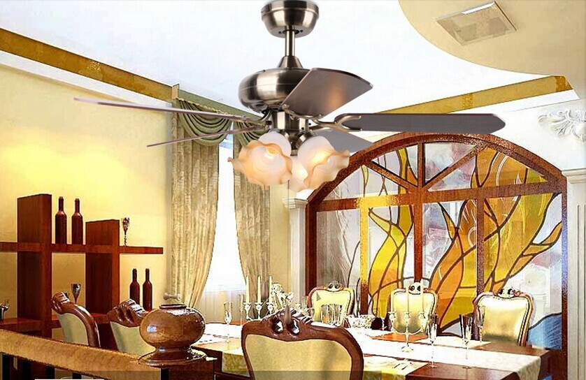 Dining Room Bedroom 42inch Ceiling Fan Light Continental Antique Vintage With Glass