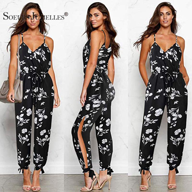 100% Cotton   Jumpsuits   Flower Boho Print   Jumpsuit   Romper For Women 2019 Streetwear Beach Coveralls Sexy Female Bodysuit 101047