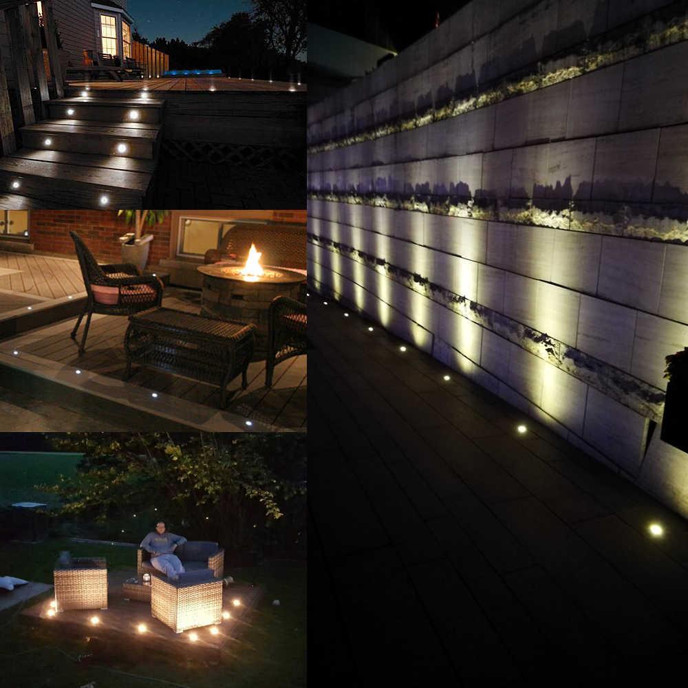 Набор светодиодных светильников, из нержавеющей стали, водонепроницаемые, уличные, для украшения сада, для украшения сада, встраиваемые, деревянные, для лестницы, 10 шт.