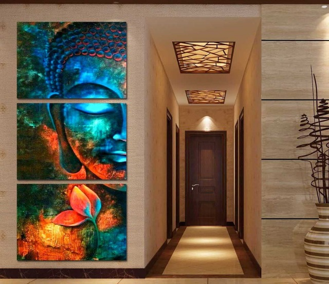 Framed 3pcs Abstract Blue Buddha Modern Home Decor Canvas
