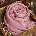 Genuine Silk Women Scarf 2016 Summer Autumn Winter High Quality Shawl 200 * 65 cm Fashion Pink smoke Solid Color Scarves