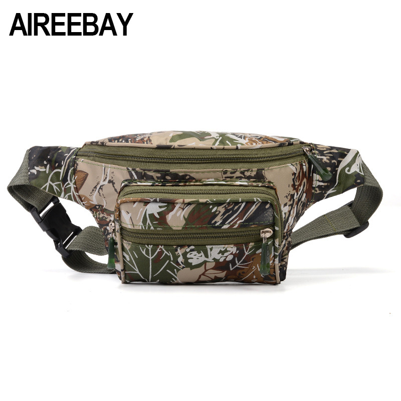AIREEBAY Tactical Men Waist Pack Bum Bag Pouch Waterproof Military Male Belt Waist Packs Oxford Mobile Phone Wallet Travel Bag