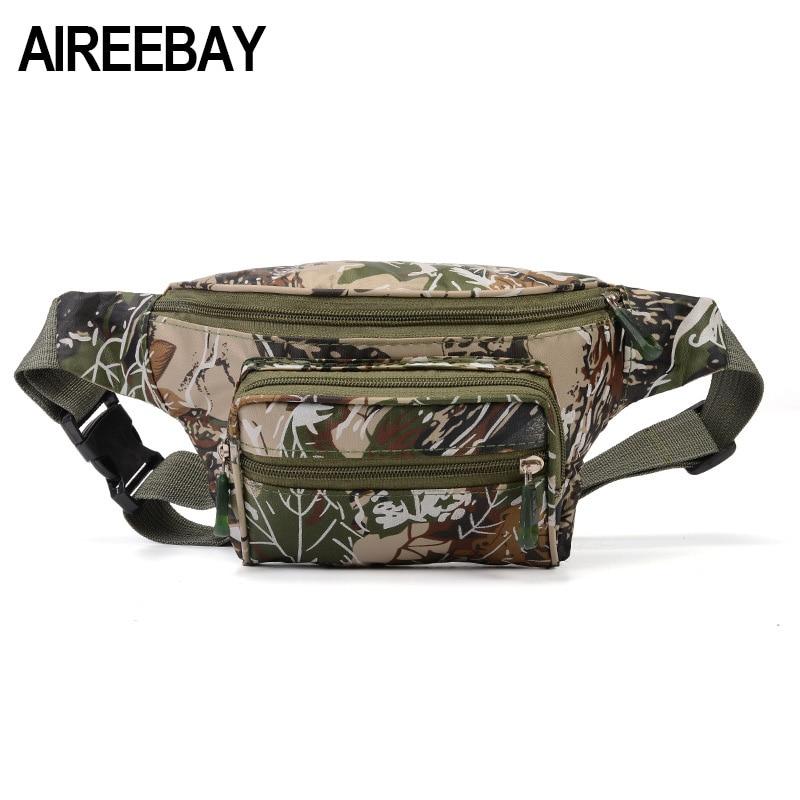AIREEBAY Tactical Men Waist Pack Bum Bag Pouch Waterproof Military Male Belt Waist Packs Oxford Mobile Phone Wallet Travel Bag