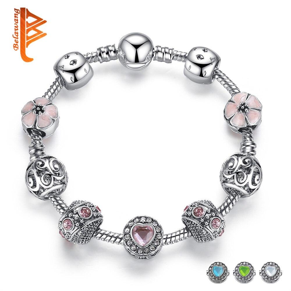 BELAWANG Luxo 925 Pulseira de Prata Charme Para As Mulheres Com Flor e Coração De Cristal Do Grânulo Pulseiras de Dia Dos Namorados do Casamento Jóias