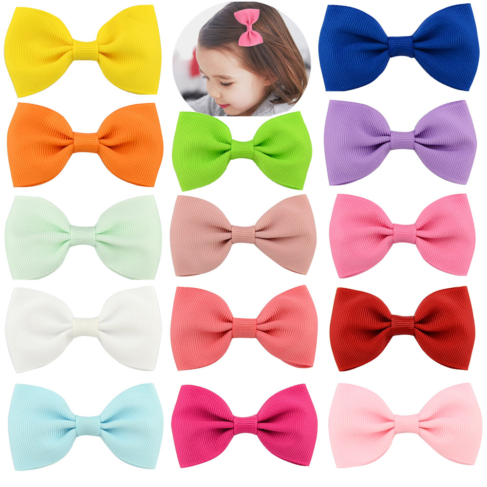 20 Pcs/lot Small Bowknot Hairgrips Mini Sweet Solid Ribbon Bow Safety Hair Clips Kids Hairpins Little Girls Hair Accessories 2pcs lot boutique children baby girls solid mini ribbon hair clip bows barrettes hairpins accessories hairgrips bowknot headwear