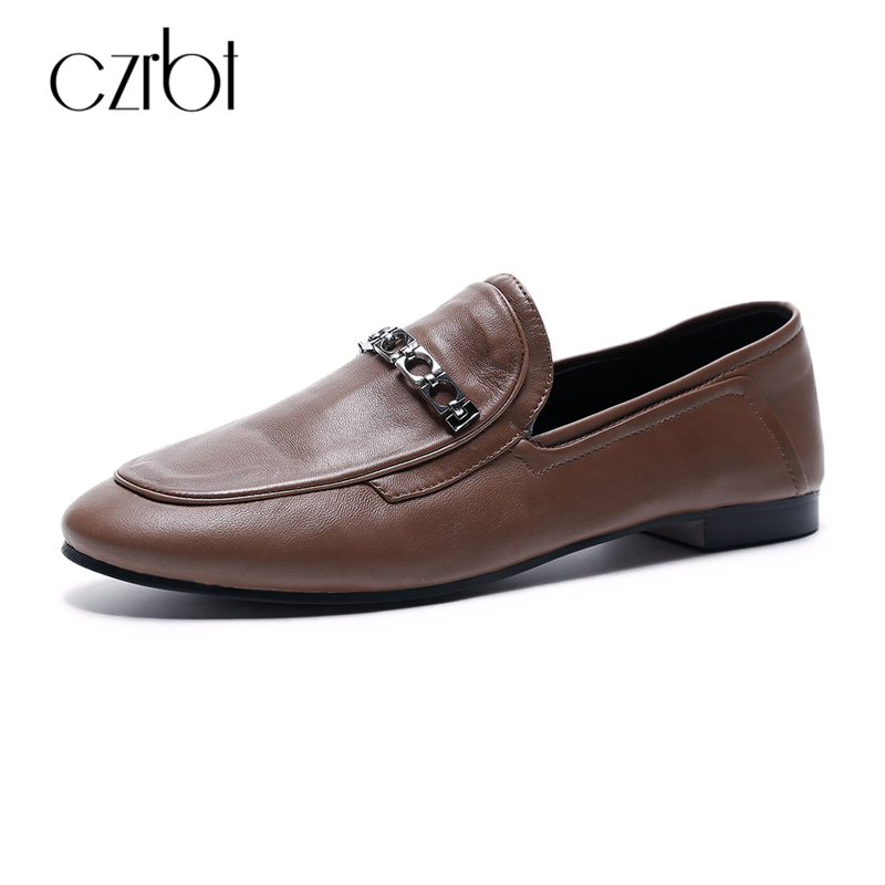 CZRBT  Women Genuine Leather Flats Spring Autumn Fashion Metal Chain Shallow Mouth Loafers Brown Black Comfortable Flat Shoes slhjc 2017 autumn flat heel shoes pointed toe women flats with metal chain real fur loafers work shoes d25