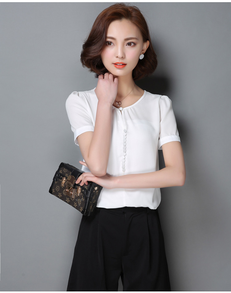 HTB1O8jkNXXXXXb9XVXXq6xXFXXXN - Casual Women Chiffon Blouse Ladies Solid Short Sleeve