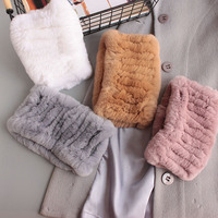 New ladies winter fur scarf Korean natural fur Rex rabbit hair braid warm elastic head neck sets children rabbit fur collar