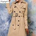 Rey Brillante Marca Moda Mujeres Abrigo de Las Mujeres A Prueba de Viento Abrigos Para Mujeres Largo Trench Con Cinturón Otoño Cazadora Caqui S-XL