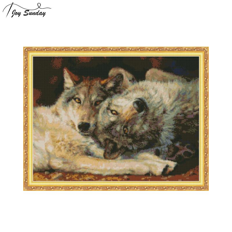Joy Sunday Counted Cross Stitch Wolf DMC 14ct 11ct Aida Fabric Printed Canvas Embroidery Kit DIY Handmade Needlework Home Decor in Package from Home Garden