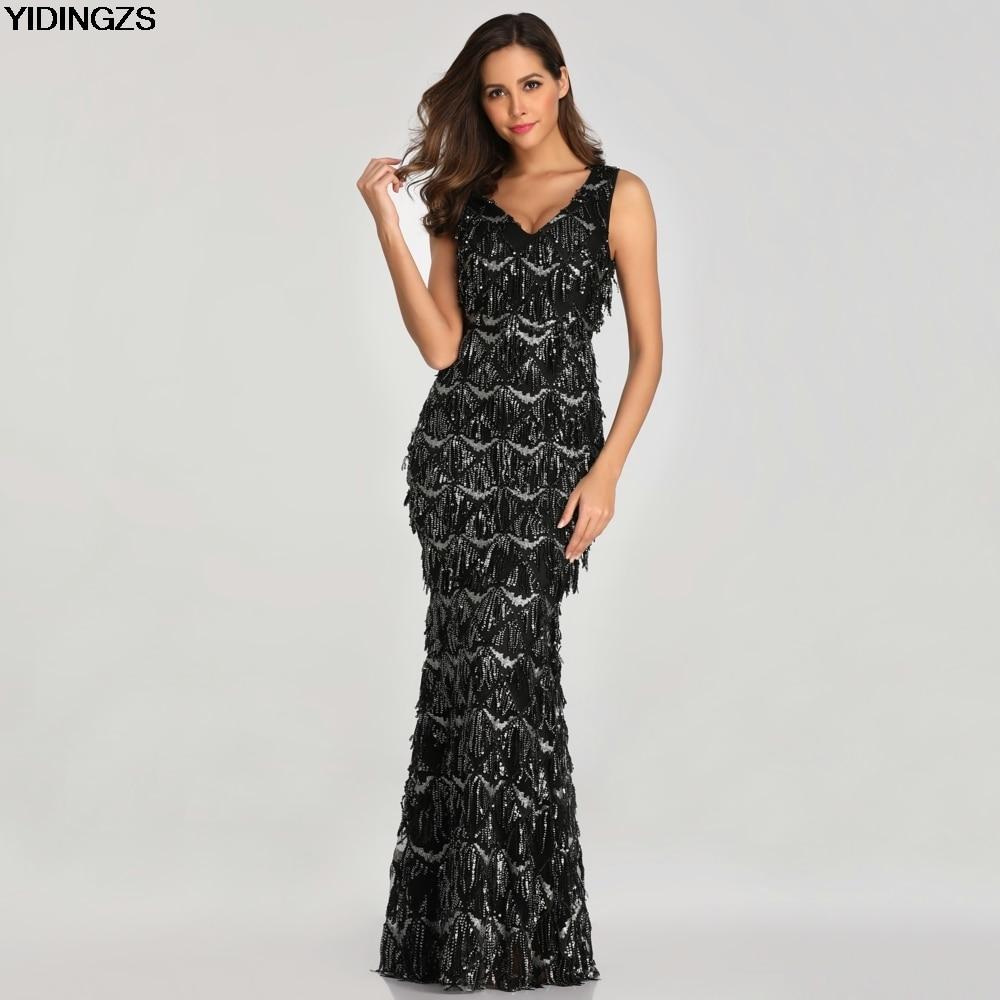 YIDINGZS Black Sexy V-neck Tassel Sequin Sleeveless   Prom     Dress   Women Elegant Long Party   Dress