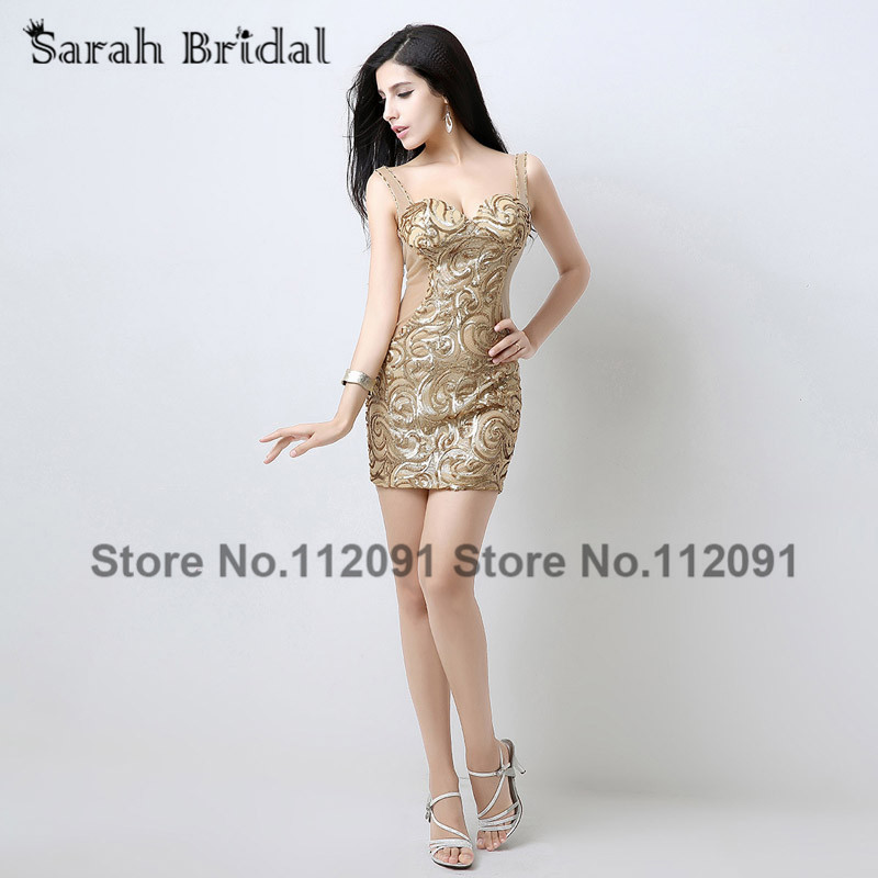 See Through Cocktail Dresses Spaghetti Strap 2017 Champagne Satin Short Prom Dresses Sequins curto para jovens