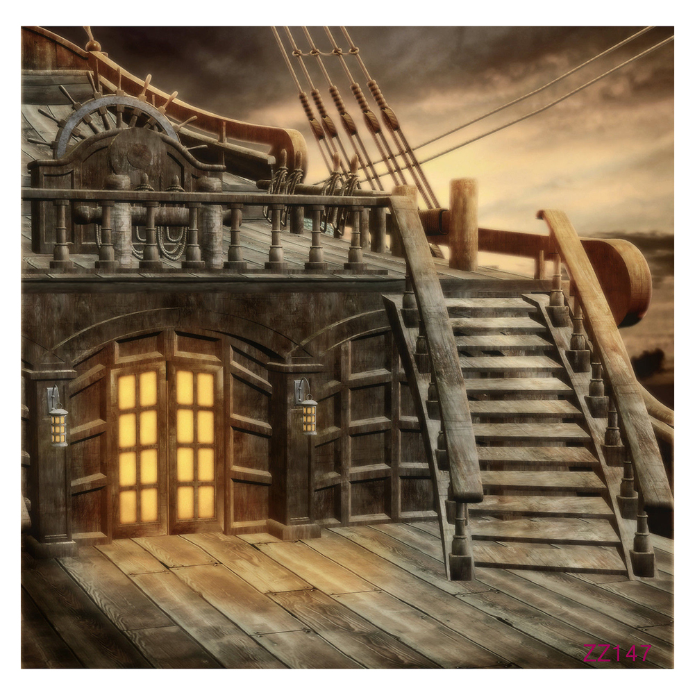 5x7FT Vinyl Studio Photography Backdrop Retro Pirate Ship Photo Background