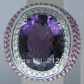 Big Stone Genuine Natural Purple Amethyst Ring Solid18Kt White Gold Diamond Engagement Rings For Party SR274A
