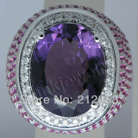 Big Stone Genuine Natural Purple Amethyst Ring Solid 18Kt White Gold Diamond Engagement Rings For Party SR274A