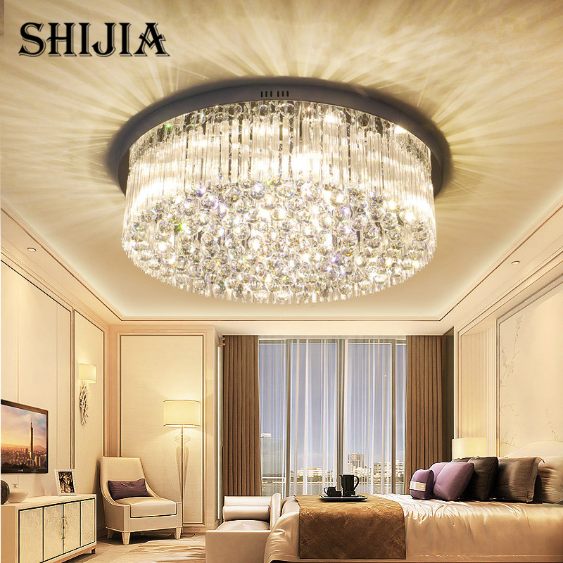 все цены на Modern Crystal Ceiling Light for Living Room Remote Control LED Ceiling Lamp for Bedroom Kitchen Foyer Hotel Hall Round Lamp
