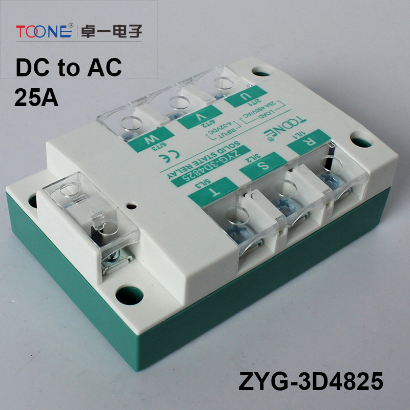 ФОТО Three Phase Solid State Relays 25A 3-32V DC to 30-480V AC Relay Switch for PID Temperature Controller rele TSR-25DA-25A