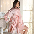 P1520 Women Sexy 2 PICS Lace Robe Sleepwear Lingerie Nightdress Robes Gown sets