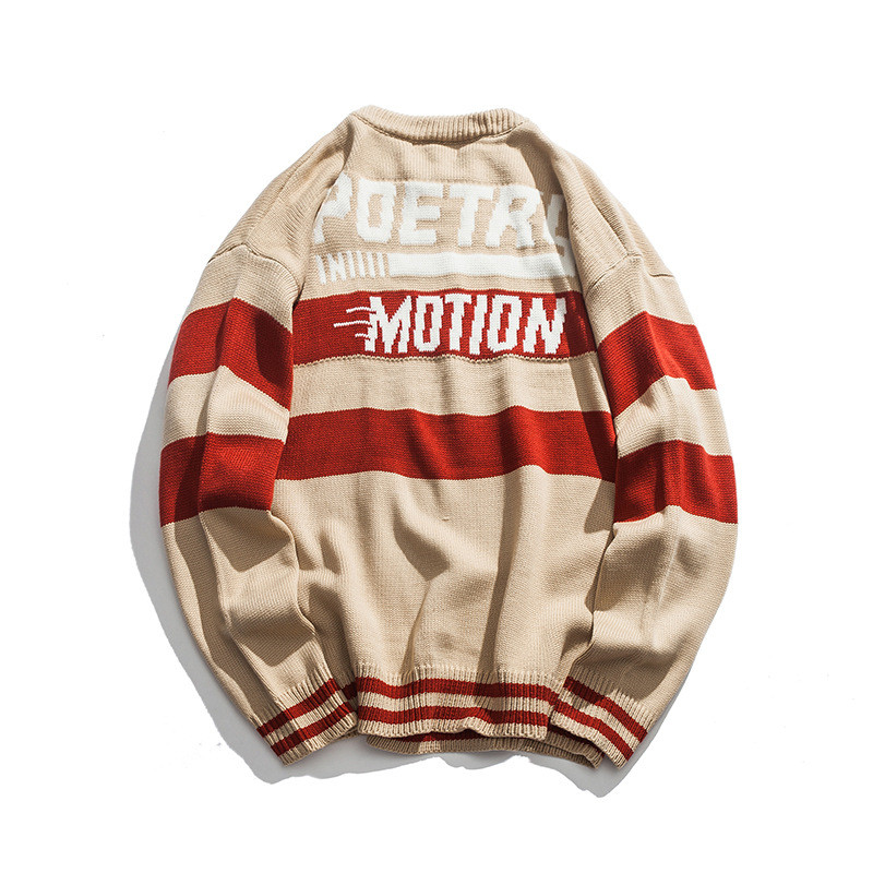 Knitted Japanese Harajuku Poetry In Motion Letter Crewneck Sweater For Men Urban Boys Hip Hop Knit Pullover Jumper Plus Size