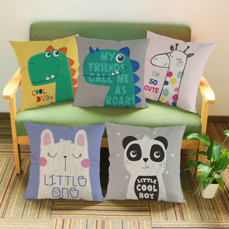 Cartoon Cute Little Animals Dinosaur Giraffe Panda Rabbit Pillow Case Children Room Decoration Cushion Cover A Childs Gift