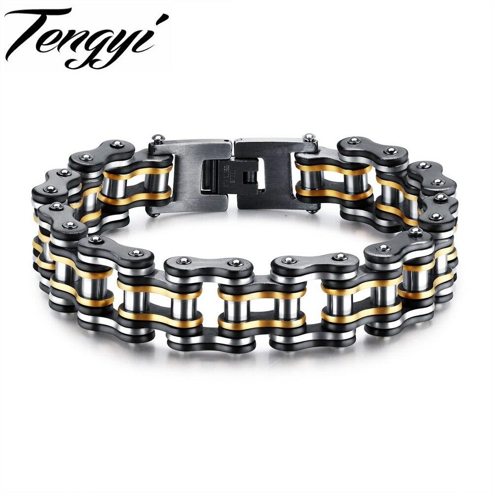 TENGYI Hot Sale Motorcycle Chain Bracelet Men Biker Stainless Steel 15mm Bid Wide Bracelet 205mm Length Adjustable Jewelry GS877 opk biker stainless steel men bracelet