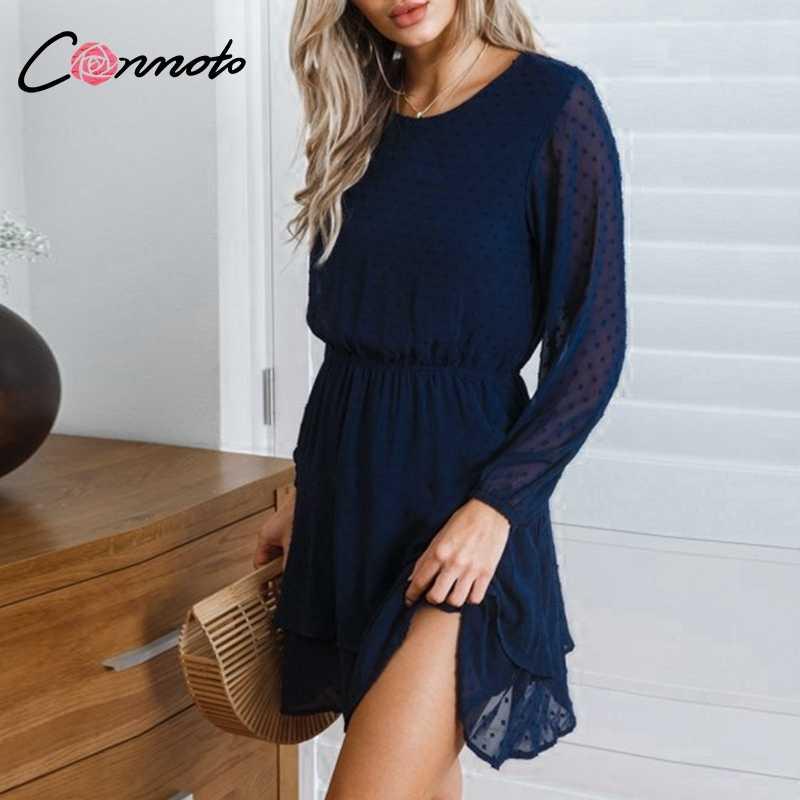 Conmoto Винтажное платье для вечеринок, элегантное повседневное платье в горошек с длинными рукавами, однотонное летнее короткое шифоновое платье