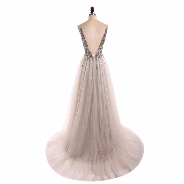 V Neck Sparkly Prom Dresses 2019 Backless Evening Party Dress Elegant Sexy See Through High Split Vestido de Festa Real Photo 3