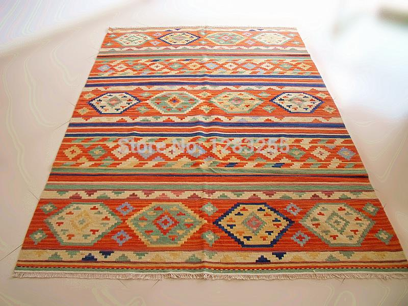 bohemian floor carpet vintage handwoven wool carpets thin