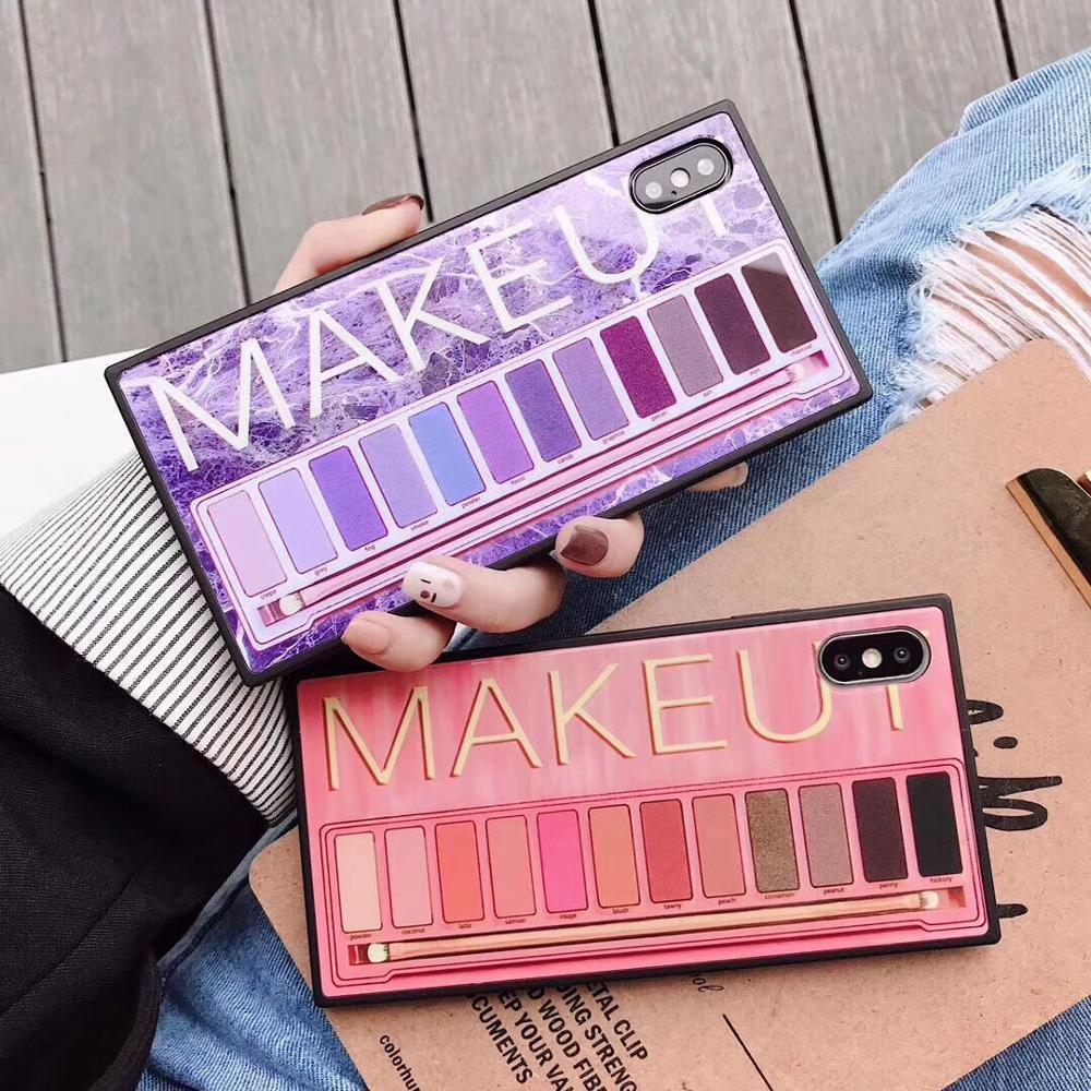 <font><b>Makeup</b></font> Eyeshadow Palette Square phone <font><b>Case</b></font> For <font><b>iphone</b></font> XS Max XR XS for <font><b>iphone</b></font> 6 6s 7 8 plus glossy soft silicone <font><b>case</b></font> cover image