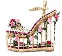 Woman Caged Style Platform Sandal 2018 Gold Metal Striped Ankle Strap Wedge Sandal Cutouts Flower Heels Sandals Dress Shoes