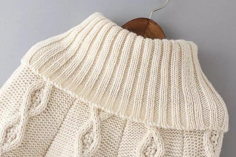 Suéter Beige Poncho cuello alto 2015 marcas alta calidad Twisted ...