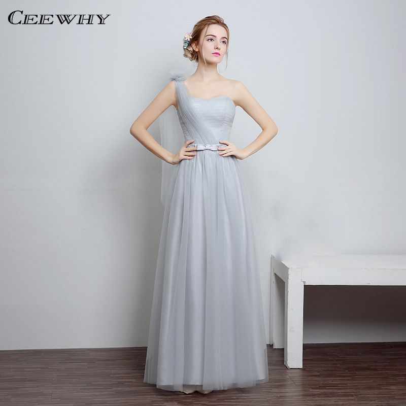 Light Gray 4 Style One-Shoulder A-Line Tulle Long Evening Dress 2017 ...