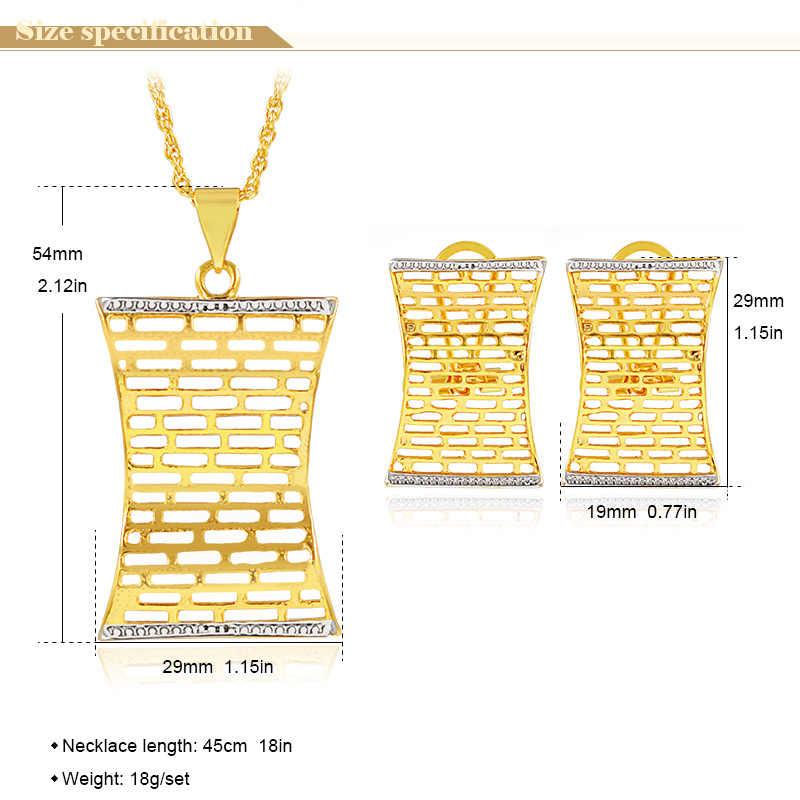Ensembles de bijoux romantiques bijoux ensoleillés pour femmes boucles d'oreilles pendentif collier ensembles de bijoux de vague d'eau pour les ensembles de bijoux de mariage de fête