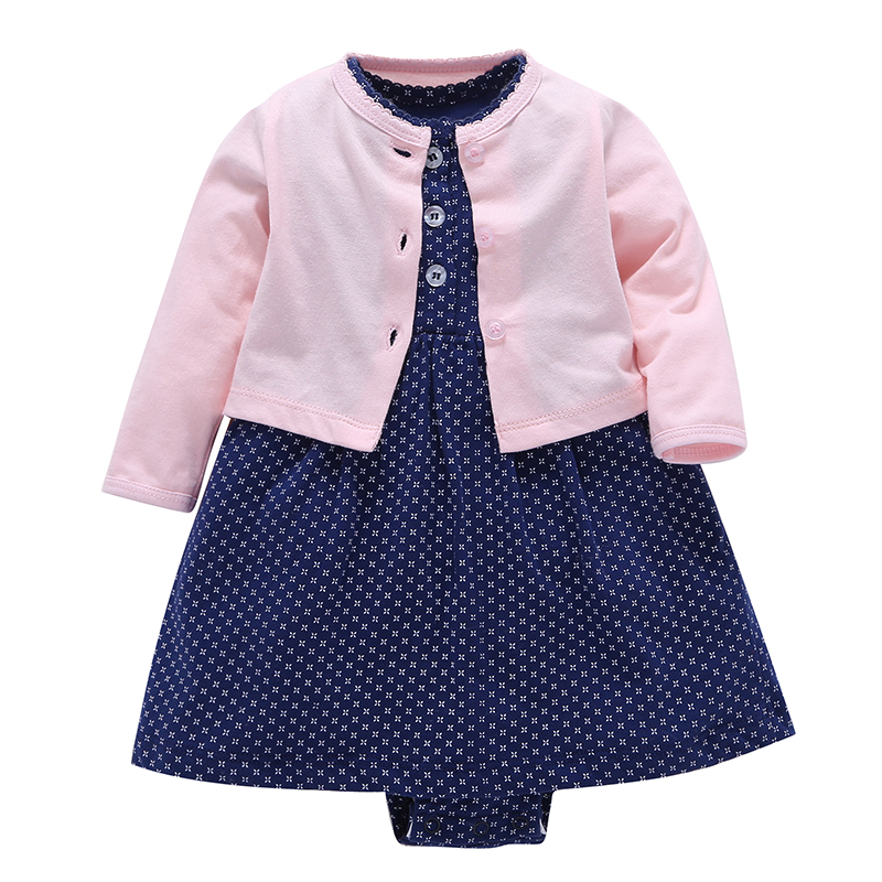 Full Hot Sale Direct Selling Coat Set Of 2018 Sets Of Girls O-neck Baby2 Newborn Baby Suit 100% Cotton Clothes Childrens Dress