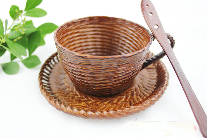 Braided bamboo cups Personalized woven Rattan watertight coffee cup three-piece retro Japanese style
