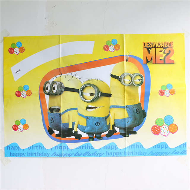 Us 395 85cm58cm Happy Birthday Posters Scene Setter Party Wallpaper Festive Party Room Decoration Minions Birthday Party Supplies On