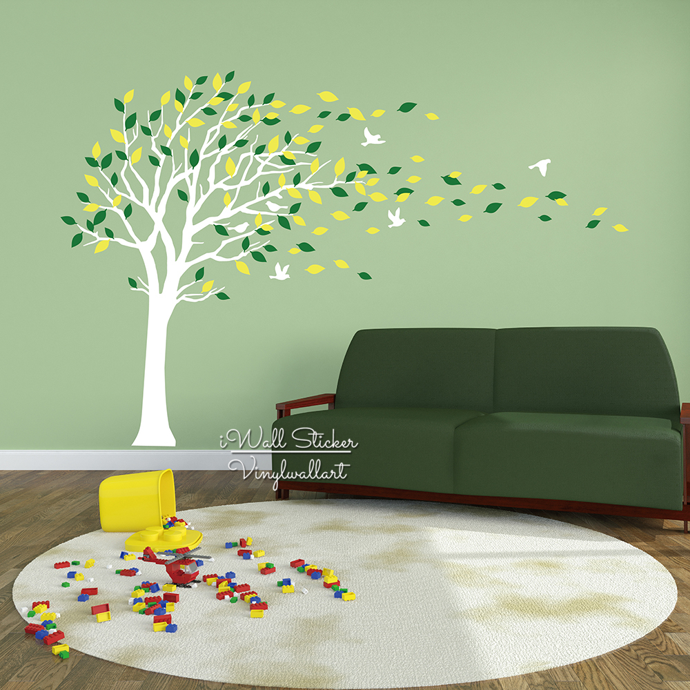 Baby nursery tree wall sticker birds leaves tree wall decal diy baby nursery tree wall sticker birds leaves tree wall decal diy large tree wall decors children room decor cut vinyl sticker t11 in wall stickers from home amipublicfo Image collections