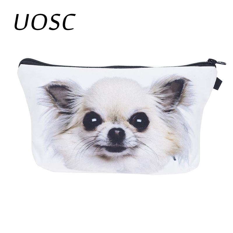 UOSC 2018 Kawaii Dog Travel Cosmetic Bag 3D Printing Makeup Organizer Bag Neceser Toiletry Wash Bath Storage Pouch