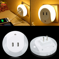 Smart Design LED Night Light With Light Sensor Dual USB Wall Plate Charger For Bathrooms