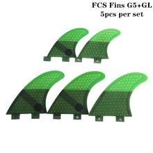 Surfing 5pcs FCS Fins G5 with GL Fin Honeycomb Fibreglass G5+GL Green Quilhas