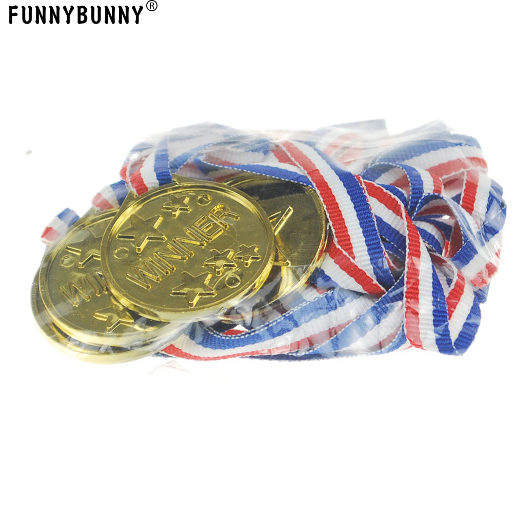 5pcs Plastic Gold Prize Medals Winners Sports Party Children Kids Awards Toys \