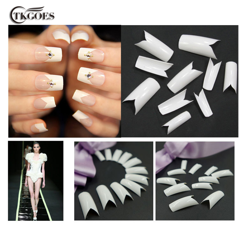 TKGOES 100PCS Beauty White V Shapes Fake False Acrylic Nail Tips ...