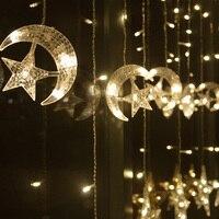 Луна и звезды Ice Светодиодные строки полосы света 138 светодиодов 250 см Длина гирляндой Рождество окна Шторы праздник свадебный декор