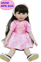 45cm 18inch Hot Sell American Girl Doll With Black Long Hair And Pink Dress Cute Bebe