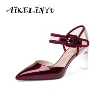 AIKELINYU 2019 Summer Patent Leather Fashion Crystal Heel Sandals Cusp Elegant Women Pumps Wine Red Sexy Ladies Office