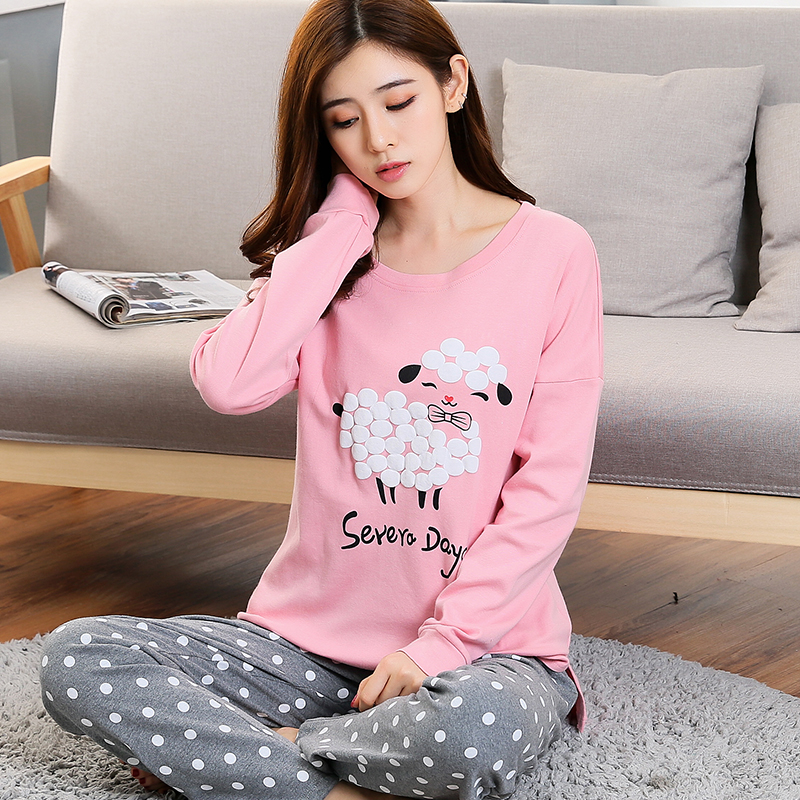 WAVMIT 2019 New Women Pyjamas Cotton Clothing Long Tops Set Female Pajamas Sets NightSuit Mother Sleepwear Sets Women Home Wear