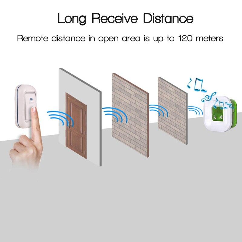 Image 3 - 220V Waterproof Wireless Electric Ding Dong Door Bell with Temperature Digital Display Big Doorbell ButtonDoorbell   -