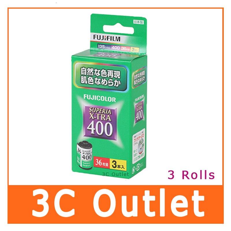 Fuji Superia X-TRA 400 Color Film 3 Rolls 35mm 36exp Original From Japan , 3 Rolls/Pack